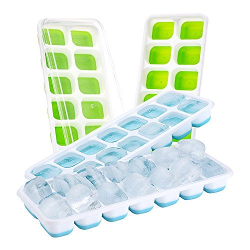 (4 packs) Ice Cube Tray, TOPELEK Easy Release LFGB Certified Ice Cube Tray Moulds with 4 Spill-Resistant Lids, Best for Water, Cocktail and Other Drinks, Blue and Green