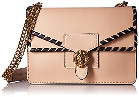 Anne Klein Diana Large Double Flap Chain Bag, Natural-Dolphin/Black/Whip Stitch
