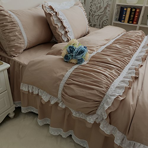 Rüschen Twin-size-bett (Kexinfan Bettbezug 100% Baumwolle Twill Prinzessin Rüschen Khaki Bettwäsche White Lace Bed Rock Set Twin Full Queen King Size, Twin)