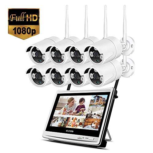 Lqqsxt Kamera 8-Kanal-Full-HD-1080P-Ausgang Wireless-Smart-NVR-WiFi-CCTV-Sicherheitssystem mit 12-Zoll-LCD-Monitor, 2MP-Außenkamera und 2TB-Festplattenlaufwerk (2/4/6/8 CH) (größe : D)