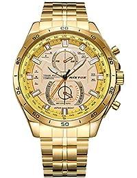 Longbo, tamaño grande dorado banda de acero inoxidable reloj de pulsera para hombre Business Casual reloj de cuarzo cronógrafo para decoración de