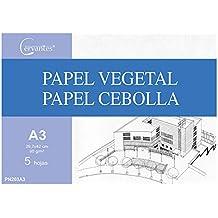 Cervantes PN203A3 - Pack de 5 hojas de papel vegetal A3