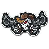 2 x Brillant motif tête de mort-pistolet cowboy,#4084/iPad/ordinateur portable