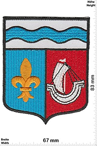 Patches - Bishop - ship - Countries Historical coat of arms - Iron on Patch - Applique embroidery Écusson brodé Costume Cadeau- Give Away