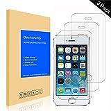 GeekerChip Verre trempé iPhone 5/5S/5C/SE Protecteur d'écran[3 Pièces], Protection Écran en Verre Trempé Films Vitre pour iPhone 5/5S/5C/SE
