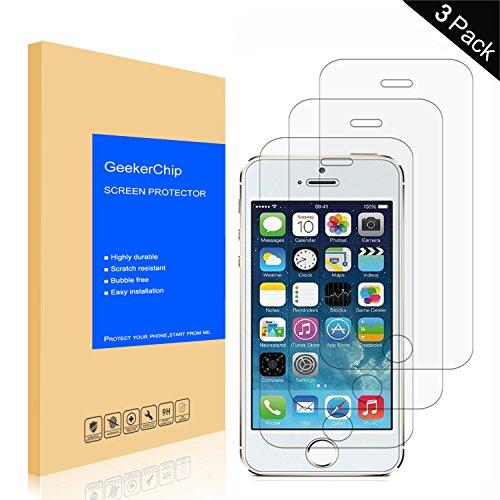 GeekerChip Verre trempé pour iPhone 5/5S/5C/SE Protecteur d'écran[3 Pièces], Protection Écran en Verre Trempé Films Vitre pour iPhone 5/5S/5C/SE