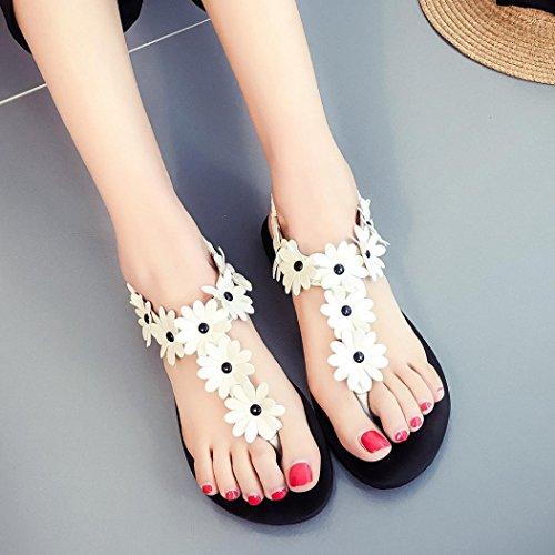 Hunpta Frauen flache Schuhe Perlen Böhmen Freizeit Sandalen Peep-Toe Flip Flops Schuhe Weiß