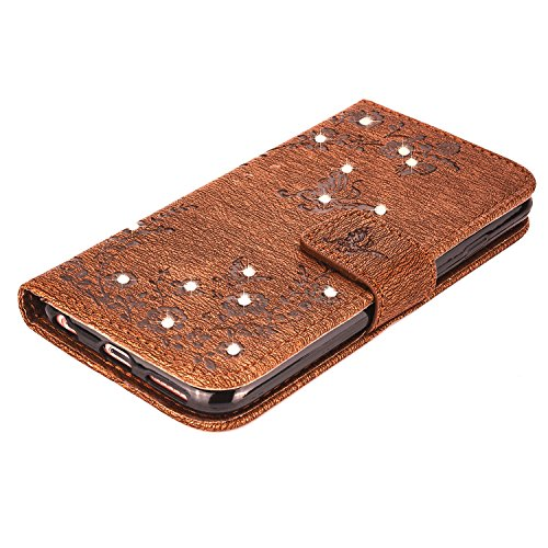 "MOONCASE iPhone 6 Plus / 6S Plus Hülle, Premium Leder Schutzhülle [Blumen Schmetterling Serie] PU Leder Flip Handyhülle Tasche Case für iPhone 6 Plus / 6S Plus (5.5"") Grau Braun"