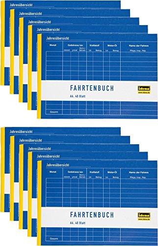 Preisvergleich Produktbild Idena 314250 - Fahrtenbuch,  DIN A6 für 390 Fahrten doppelseitig bedruckt,  holzfreies Papier,  40 Blatt (Fahrtenbuch,  A6 / 10er Sparpack)