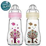 MAM Glasflasche Glas Flasche Feel Good Glass Bottle 260 ml Glas Flasche inkl. Sauger Größe 1 ab Geburt, 2 Stk.