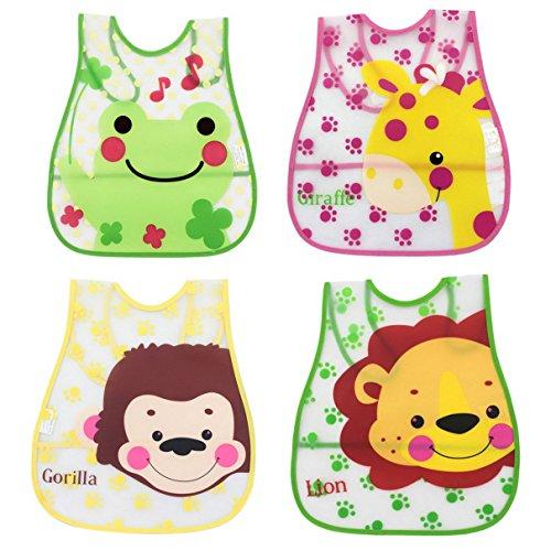 Aivtalk 4 teilige Babylätzchen Weiches Wasserdicht Lätzchen PEVA Unisex Baby Tier Druck Lätzchen leichte Reinigung Kleinkinder Zweiseit verfügbar Schürze für 1-3 Jahre Set 2 (Drucke 12k)
