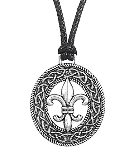 medievale francese fiore giglio Fleur de lis accessori Slipknot Pendant Necklace Jewelry