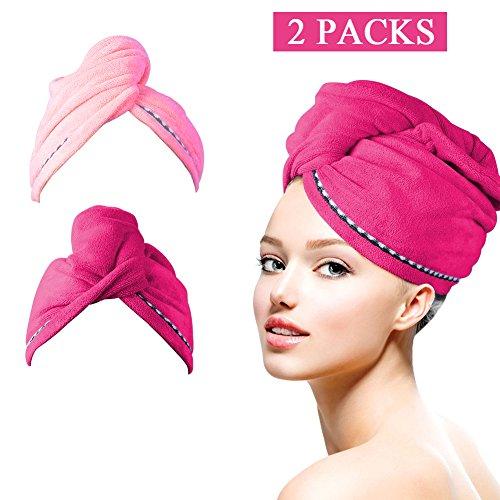Eastshining Haar Handtuch Wrap Turban Handtuch Mikrofaser Schnelltrocknend Duschhaube Trockner kopftuch mit Tasten Haartuch 2 Stück