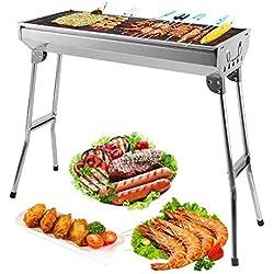 Mbuynow BBQ Barbecue à Charbon de Table en Acier Inoxydable Pliable Four Grille de Cuisson Démontable pour Barbecue de Jardin extérieur Camping et Pique Nique (pour 5-10 Personnes)