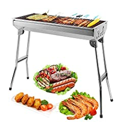Idea Regalo - Mbuynow Barbecue Griglia a Carbone Professionale per 5-10 Persone, Utensile BBQ Grill Barbecue Carbone Pieghevole per Picnic con Gli Amici, Riunione di Famiglia in Balcone e Giardino, Campeggio ECC