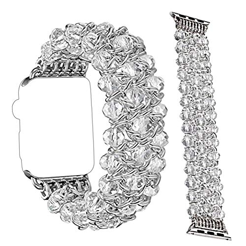 Qianyou Für Watch Armband Perlen 38mm, Uhrenarmband Ersatz Schlaufe Naturstein Perlen Uhrarmband Armbänder Kompatibel mit Apple Watch Series 3/2/1,Sport,Edition,Frauen Männer-Kette Silber