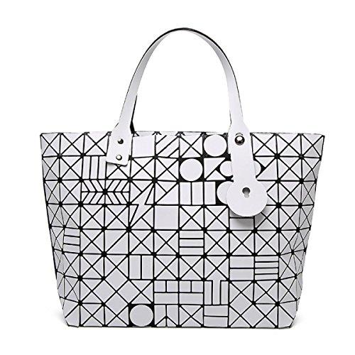 FZHLY Fashion Trend Signore Pacchetto Laser Geometrica Ling Griglia Singola Spalla Bag,Black White