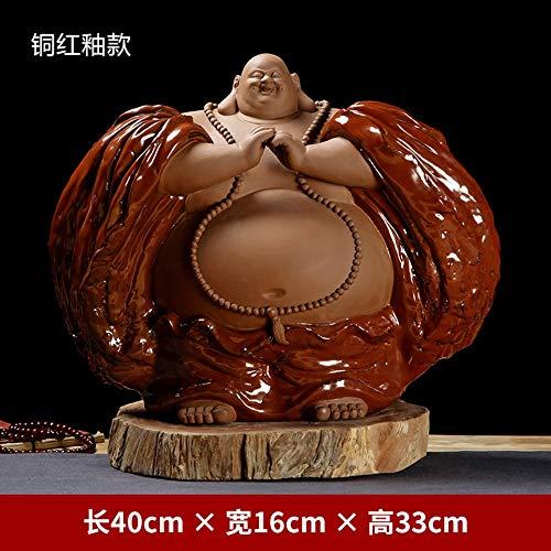 Große Lachende Buddha-Statue Für Viel Glück,Reichtum Und Glück,Chinesische Glasierte Keramik Big Bauch Standing Maitreya Figur Für Zen-Meditation,Handgefertigte Skulptur Ornamentfor Home-Desk-Dek