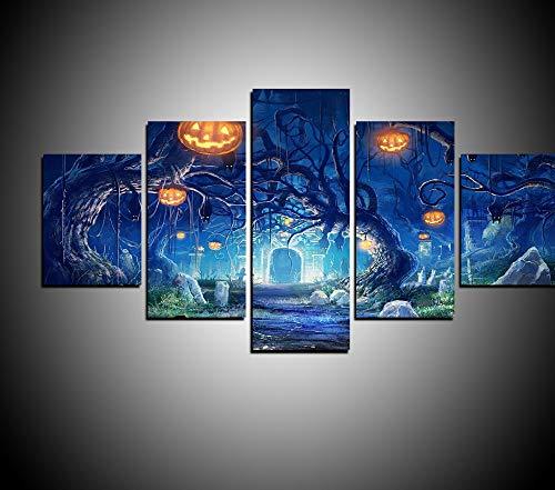 ei Werkzeug Set Original Öl Tinte Leinwand Drucken Wandkunst Bild Home Decor Halloween Baum Und Kürbis Laterne Bild ()