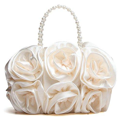 ERGEOB Damen Clutch Satin Abendtasche Hochzeitspaket Brautjungfern-Paket Baby Mädchen Handtasche Schwarz Beige