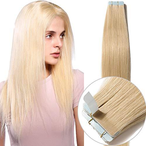 Extension biadesive capelli veri 20 fasce adesive tape extensions bionde con biadesivo 100% remy human hair biondi 35cm-40g #613 biondo chiarissimo