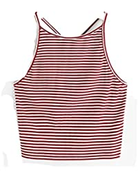 Vovotrade Femmes Mode Sexy Rayé Tank T-shirt Sans Manches Blanc