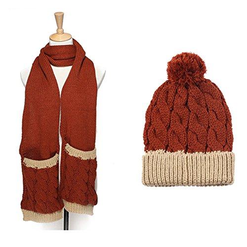 QiangDa Schal Mit Tasche Deckel 2-teiliges Set Frau Flauschige Stricken Kältebeständig Skifahren Winter Herbst, 5 Farben Wahlweise ( Farbe : 5# ) (Taschen Zwei Stricken)