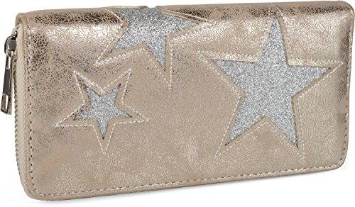 styleBREAKER portefeuille dessin étoile découpée de couleur contrastée, fermeture à glissière toute autour, femmes 02040037 , couleur:Or antique / étoile argentée