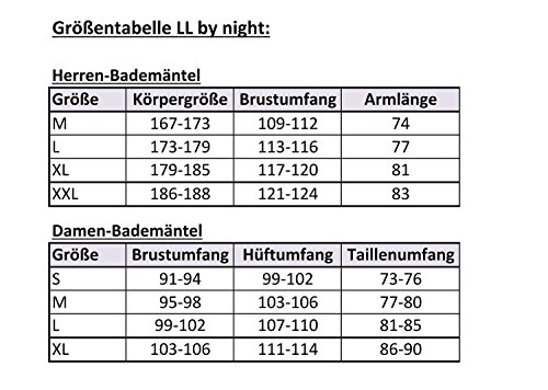 LL by night niedlicher Damen-Wellsoft-Mantel mit gestreifter Kapuze und Bindegürtel in verschiedenen Farben und Größen Kirsche/Weiß