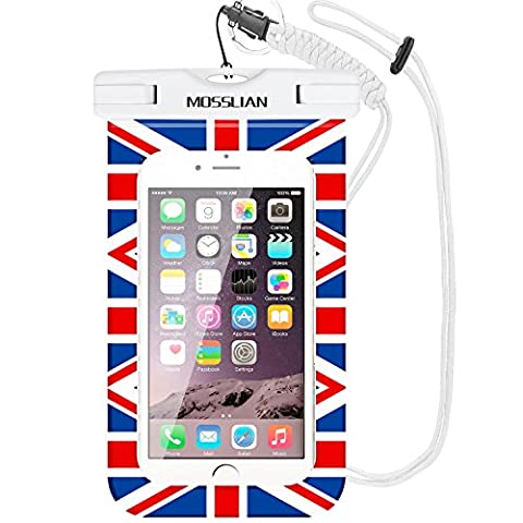 Waterproof Phone Case, MOSSLIAN Underwater Dry Bag Pouch for Apple iPhone 6s Plus 6s 6 SE 5 Samsung Galaxy S7 Note 5 for Men Women Kids Travel Beach Hiking Swimming Outdoor Fitness, TPU Construction and IPX8 Certified to 100 Feet (National Flag)