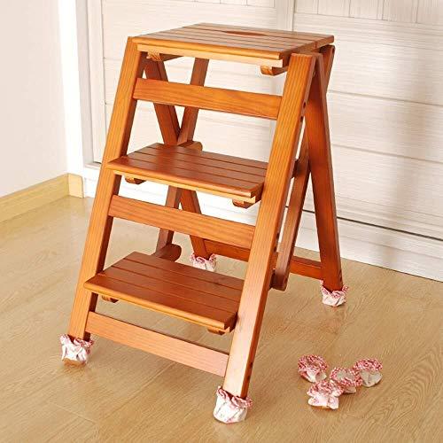 XHCfold 3 Step Stool Ladder, Klappbarer tragbarer Küchenhocker, rutschfest, for Caravan Home Garden Tool DIY - Nussbaum Lange andauernd (Color : Light Walnut) -