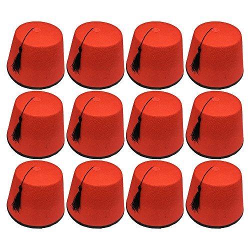 Quickdraw 12 x Erwachsene rot Fez Türkisch schwarz Quasten Unisex Kostüm Verkleidung Zubehör
