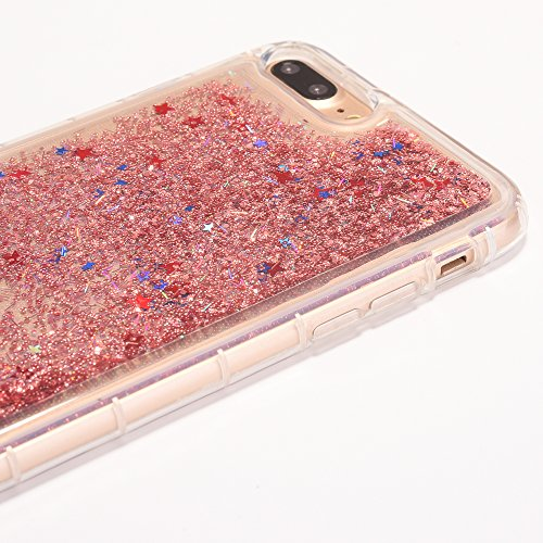 iPhone 8 Plus Hülle, Voguecase Anti-Fall-Treibsand Silikon Schutzhülle / Case / Cover / Hülle / TPU Gel Skin für Apple iPhone 7 Plus/iPhone 8 Plus 5.5(Star/Rose Gold) + Gratis Universal Eingabestift Star/Rose Gold