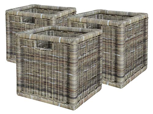 casamia Rattankorb Set 3 Stück hoch mit Griffloch, Basalt (BxHxL) = 33 x 30 x 33 cm