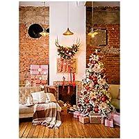 Uonlytech Árbol de Navidad Fotografía Fondo de Navidad Tema de Navidad Chimenea Tela pictórica Fotografía Personalizada Fondo Estudio Prop 3x5ft