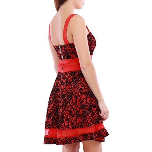 La Modeuse - Robepatineuse dentelle à broderie florale Rouge