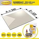 Kaminglas und Ofenglas 360 x 320 x 5 mm | inkl. 10 x 2 mm - 3 Meter Kamindichtung | » Wunschmaße auf Anfrage « | Temperaturbeständig bis 800°C | Markenqualität in Erstausrüsterqualität |