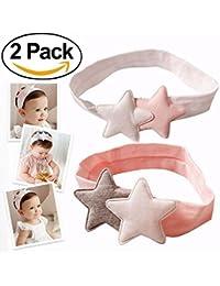 Niña de diademas, Flyfish 2-Pack Lindo Bebé de Color Rosa Suave de Algodón Estrellas Diadema Hairbands