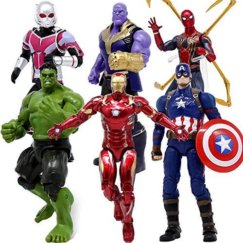 Marvel Avengers 3 Action-Figur: Iron Spider-Man, Iron Man, Hulk, Captain America, Ameisen-Mann, Thanos Action-Figur 7 Zoll/Höhe Ca. 18cm, Marvel Toy Set 6