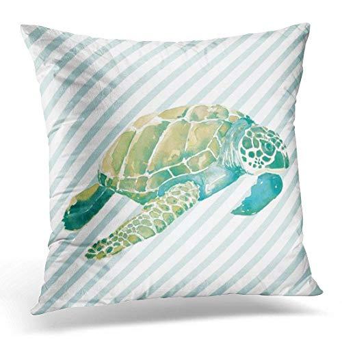 Sea Green-stripe (Roman Lin White Tropical Beach House Blue Green Sea Stripe Decorative Pillow Case Home Decor Square 18x18inch/45x45cm)