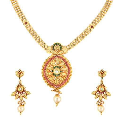 Traditional Pear Cut Bridal Necklace Set by Parisha Jewells with crystal and artificial pearl NL7070015  available at amazon for Rs.349