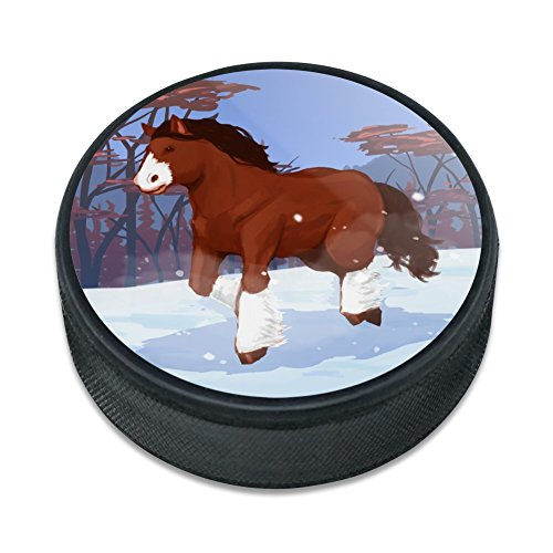 Clydesdale horse Running in Snow Ice Hockey Puck