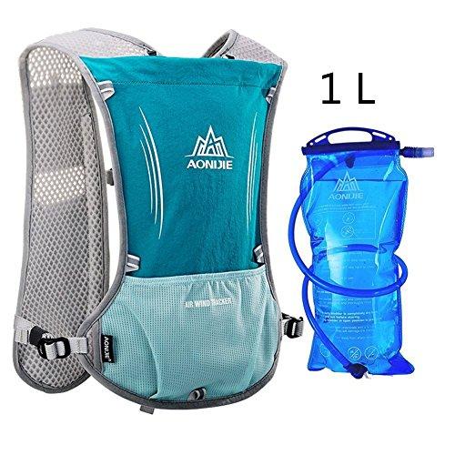 Imagen de aonijie upgrade hidratación ciclismo chaleco reflectante marathoner pack  con vejiga 2l agua deporte al aire libre carrera, azul claro