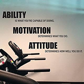 Powerful Motivational Fitness Quotes Gym Wall Stickers Wall Decals Vinyl Poster Ability Motivation Attitude Gym Decoration