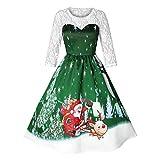 SEWORLD 2018 Elegante Damen Frauen Frohe Weihnachten Vintage Weihnachtsmann Print Spitze Abendgesellschaft Kleid Cocktailkleider(X4-grün,EU-36/CN-M)