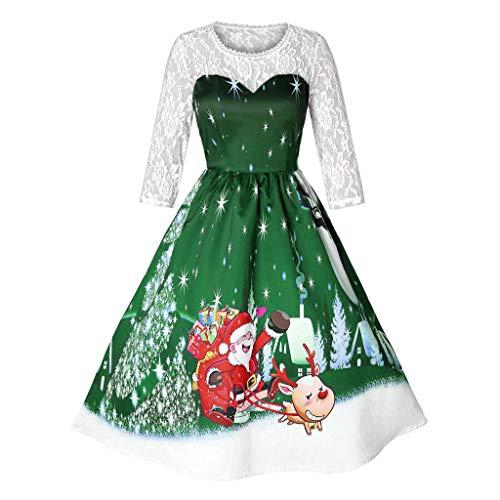 SEWORLD 2018 Elegante Damen Frauen Frohe Weihnachten Vintage Weihnachtsmann Print Spitze Abendgesellschaft Kleid Cocktailkleider(X4-grün,EU-34/CN-S)