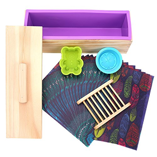 TTLIFE Rectangular Silicone Soap Mold with Wood Box and Wood Lid with 2 pressing Holes, 2-piece Round Silicone Mold and a Wood Soap Holder (GREEN)