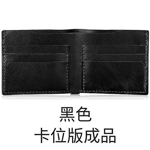 HOOM-Homme sac à main en cuir fait main bricolage créatif wallet purse,couleur kaki b Black c