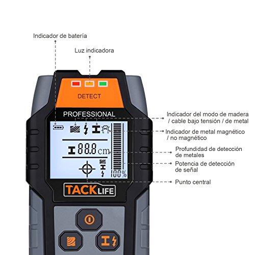 Detector de Pared Tacklife DMS03 Detector de Metal Madera y AC Cable Escáner de Pared Clásico y Multifuncional Retroiluminación LCD Indicación de Distancia Lleva una Bolsa Batería Incluida