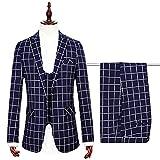 Herren Modern Slim Fit Business Grid Casual 3-Stück-Anzug Blazer Jacke Tux Vest & Hose(Navy blau,L)